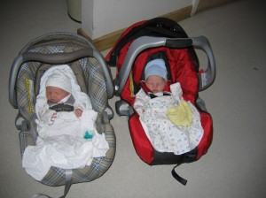 Twins in car seats